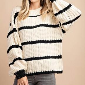 Cream + Black Stripe Sweater