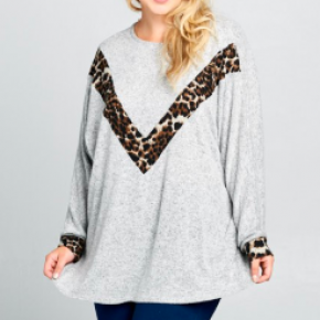 #Extra Sexy Back Heather Grey Animal Top *Final Sale*
