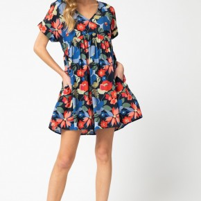 Floral Baby Doll Dress with Pockets