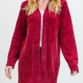 Ruby Wine Chenille Open Cardigan *Final Sale*