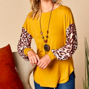 Mustard Animal Puff Sleeve Top