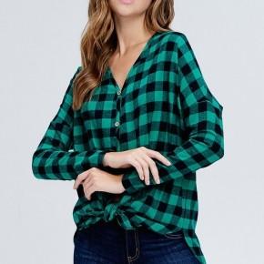 Green Plaid Button Down Knit Top