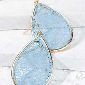 Blue Filigree Drop Earrings