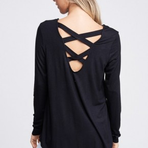 Black Cross Back Top