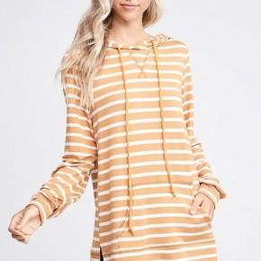 Mustard Striped Hoodie