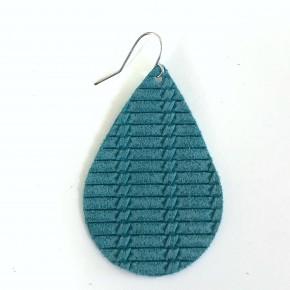 Turquoise Weave Genuine Leather Teardrop Earrings