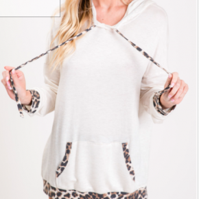 Oatmeal Terry Hoodie with Leopard