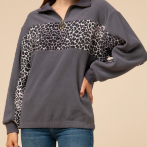 Leopard Striped Track Fleece