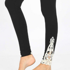 Crochet Detail Black Leggings