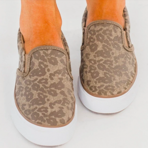 Neutral Leopard Slip On Shoes