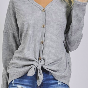 **Deal of the Day** Thermal Knit Botton Front Top *Final Sale*