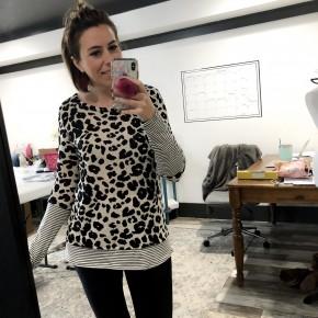 Leopard Knit Top With Pin Stripe Cuffs