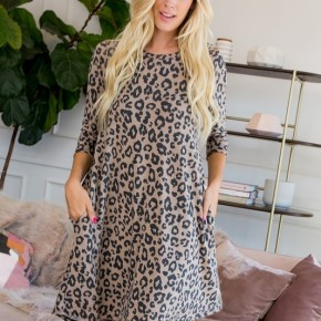 Leopard Shift Dress with Pockets