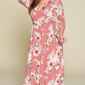 #Extra Floral Faux Wrap Maxi Dress