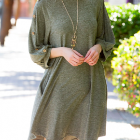 Olive Button Sleeve Swing Dress