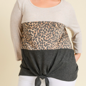 Leopard Waffle Knit Charcoal Tie Front Top