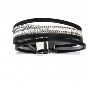 Rhinestone and faux leather bracelet
