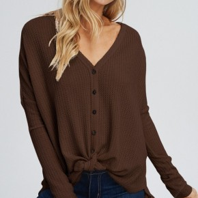 Button Tie Front Waffle Knit Top