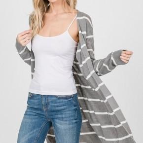 Grey Striped Comfy Cardigan