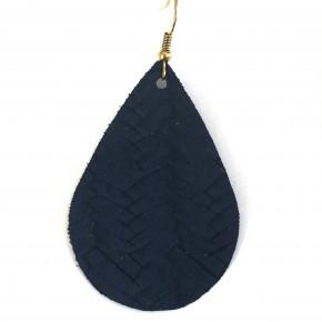 Navy Fishtail Genuine Leather Teardrop Earrings