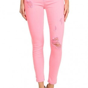 Pink Neon Distressed Denim