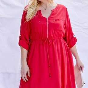 Zipper Cinched Waist #Extra Dress