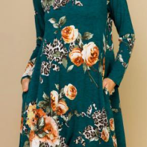 Animal/Floral Print Swing Dress