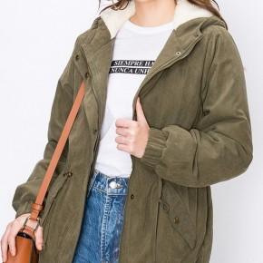 Olive Sherpa Anorak Jacket