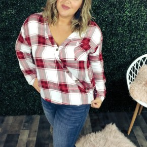 Be Merry Plaid Top