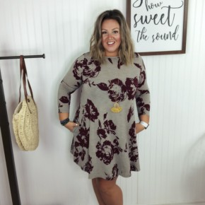 Taupe Wine Floral Printed 3/4 Sleeve Dress