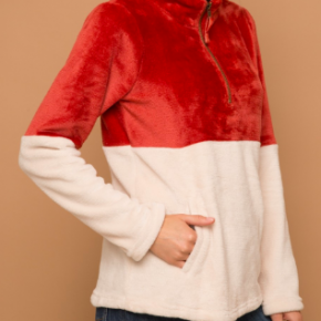Rust Color Block Fuzzy Pullover