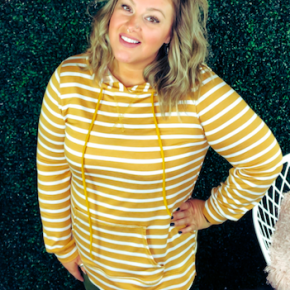 #Extra Mustard Striped Hoodie