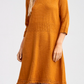 Golden Crochet Sweater Dress *Final Sale*