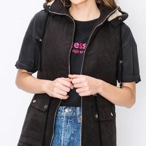 Black Cargo Zip Up Vest