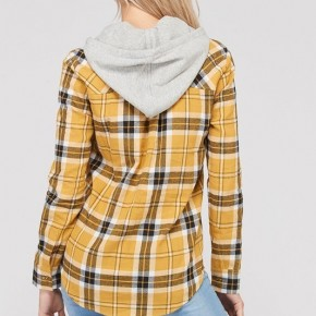 Mustard Plaid Button Down Top *Final Sale*