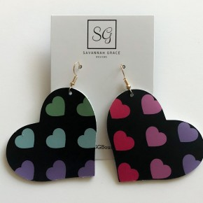Large Heart Leather Earrings
