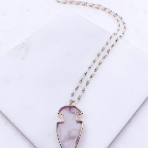 Semi Precious Stone Arrowhead Necklace