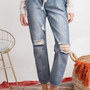 Boyfriend Elastic Waist Destroyed Jeans
