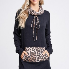 Cheetah Cowl Neck Knit Sweater