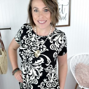 Black Damask Swing Dress