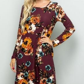 Burgundy Fall Floral Dress