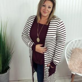 Stripe Cardigan with Pockets