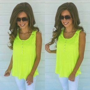 Neon Nights Button Front Tank- Green