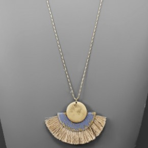 Blue & Gold Fan Tassel Necklace