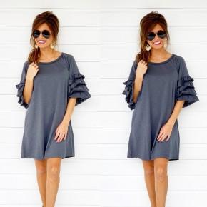 Charcoal Ruffle Dress