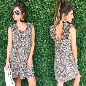 Ready In Ruffles Dress-Leopard