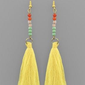 Yellow Mix Tassel Earrings