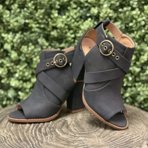 Everly Black Open Toe Booties
