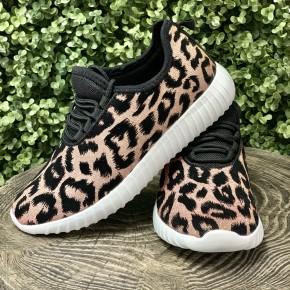 Remi Leopard Sneakers- Champagne