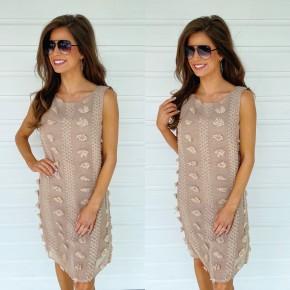Pom Pom Party Dress- Mocha